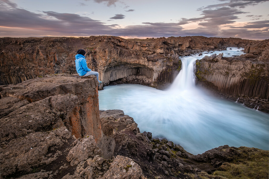 On the edge of Aldeyjarfoss, Iceland