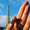 @jamesavery Fleur-de-lis #myJamesAvery #charm #surprise from mon #amour & magnifique view of #Eiffel while having le petit déjeuner on our hotel balcony ~ also wearing my #titanium #wedding #band #Paris #collection #NewYear #2016 #Texas #JAC