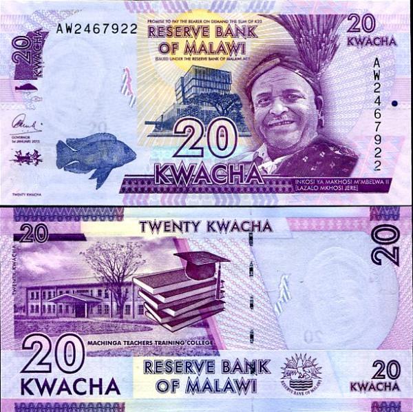 MALAWI 20 KWACHA 2015 P 57