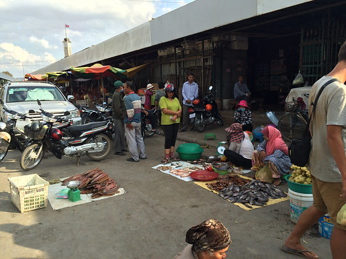 Battambang: vente de poissons au marché