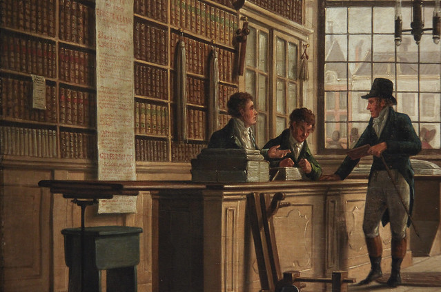 Detail - The Shop of the Bookdealer Pieter Meijer Warnars on the Vijgendam in Amsterdam, Johannes Jelgerhuis, 1820