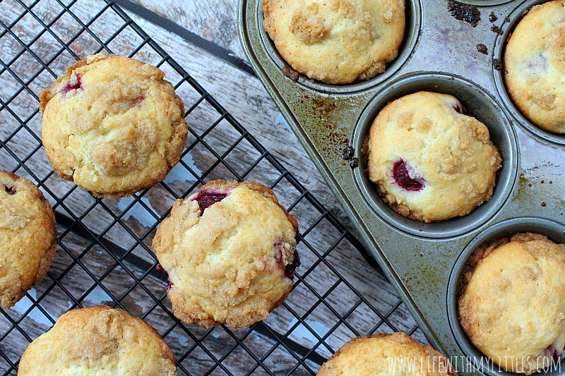 These moist, sweet, raspberry muffins have the most perfect, crunchy streusel topping. Bake some up for the one you love or just eat them all yourself!