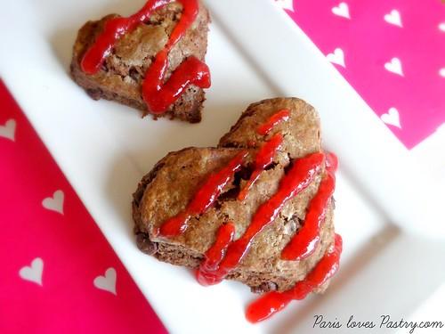 Chocolate Heart Scones with Strawberry Glaze