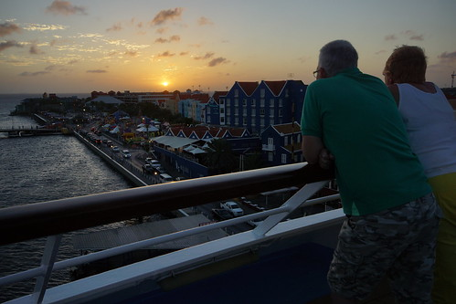 bridge cruise sunset sea holiday water ferry night island anne lights bay ship dream queen curacao thomson caribbean pontoon