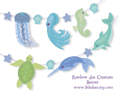 green blue sea creatures
