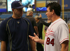 John H. Schnatter, the CEO of Papa John's, talks to Evan Longoria.