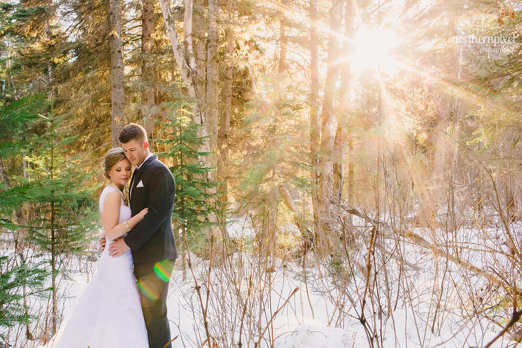 Winter Wedding Sunflare Northern Pixel Photography Prince George BC