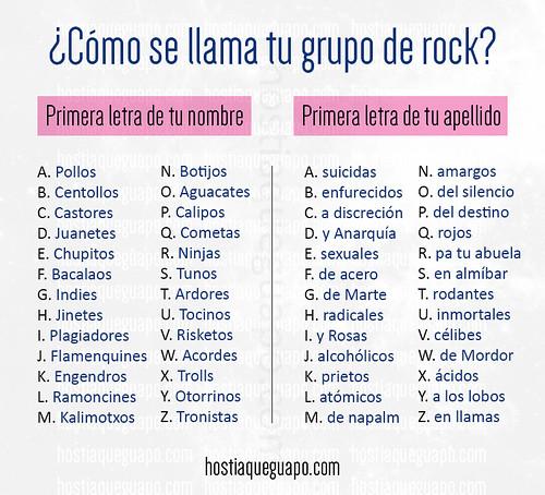 ¿Cómo se llama tu grupo de rock?