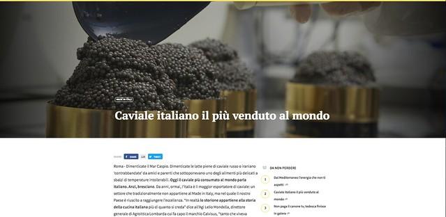 Speciale Agi, caviale italiano