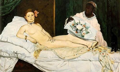 Жінка оголилася перед картиною Мане