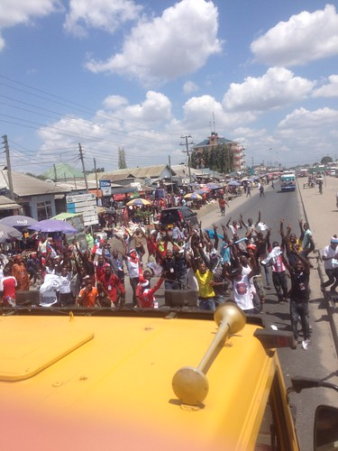 Political rally in the streets of Dar es Salaam...right before they surrounded our truck and threw campaign posters in the windows