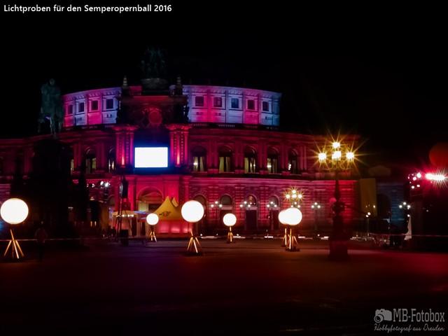 Lichtproben für den Semperopernball 2016