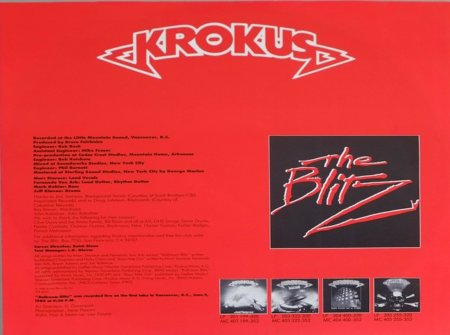 "KROKUS The Blitz OIS 12"" LP ALBUM VINYL"
