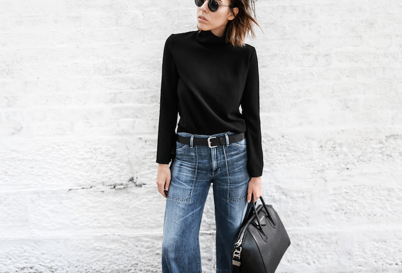 denim wide leg jeans street style Citizens of Humanity Melanie Givenchy Antigona medium street style inspo Stella McCartney loafers minimal Ellery flare sleeve top modern legacy fashion blogger  (2 of 15)