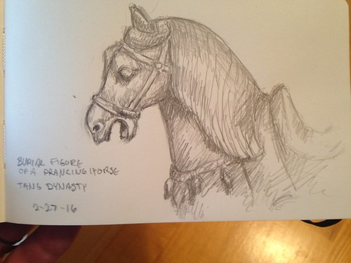 Sketch of the burial figure horse at Springfield Art Museum. Tang Dynasty, 700AD.