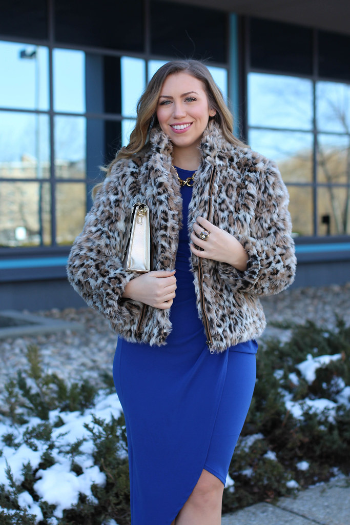 Blue Bodycon Draped Dress | Leopard Faux Fur Coat | Red M. Gemi Pumps | Winter Party Outfit