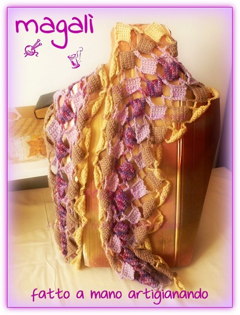 sciarpa quadratini pieni e vuoti panna beige lilla (3)