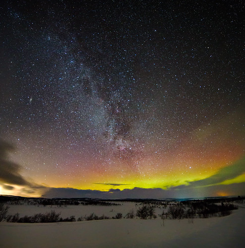 Northern light and the milky way