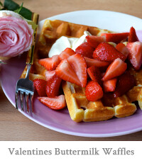 Valentines Waffles with Rose Syrup Strawberries & Crème Fraîche