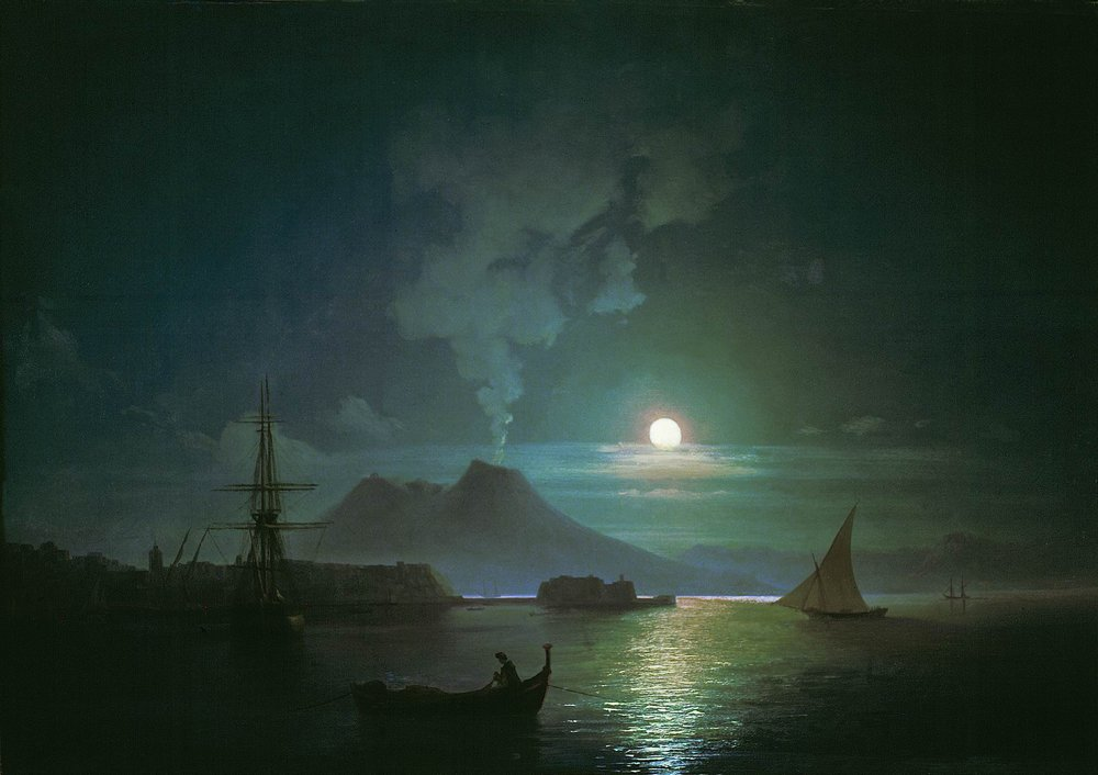 The Bay of Naples at moonlit night. Vesuvius by Ivan Aivazovsky, 1870