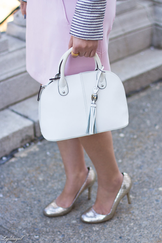 blush dress, striped blazer, white bag, silver heels-4.jpg