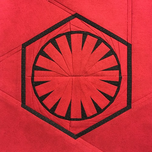 "Star Wars First Order paper pieced 10"" quilt block designed for fandominstitches.com's #starwarsquiltchallenge"