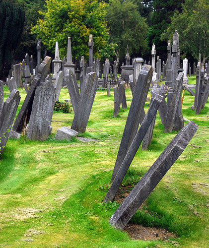 Headstones at Glasnevin, a historical Victorian Cemetery in Dublin, Ireland