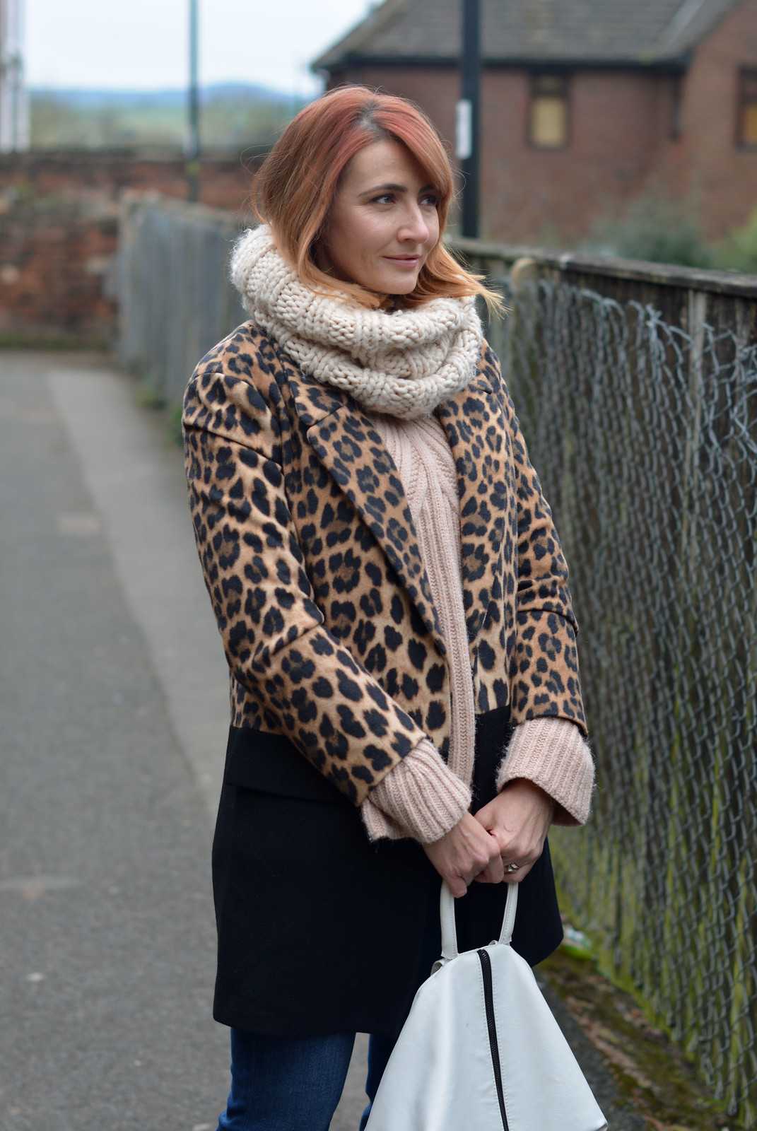 Winter style: Two tone leopard/black coat, blush knit | Not Dressed As Lamb