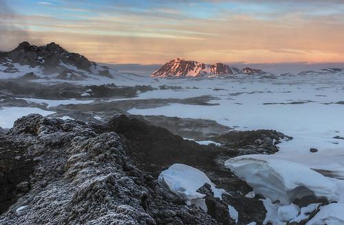 winter snow mountains sunrise landscape lava iceland volcanic geothermal myvatn krafla leirhnjukur