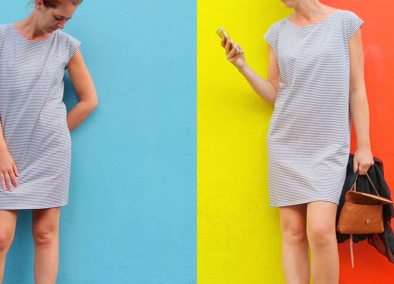 striped T-shirt dress (collage)