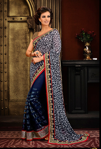 Sky Blue Georgette Designer Saree