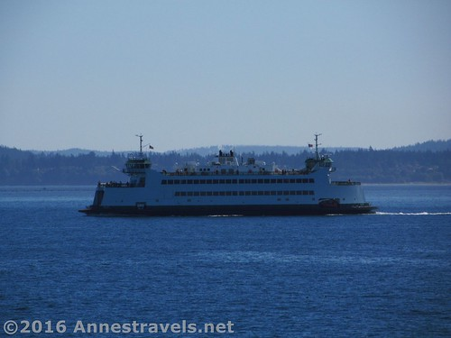 A side view of a Port Townsend ferry, Puget Sound, Washington