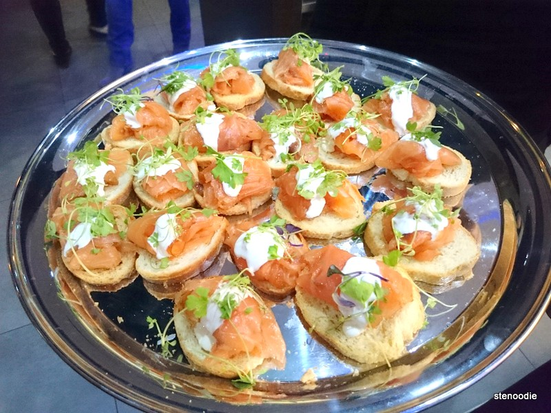 Platter of smoked salmon crostini