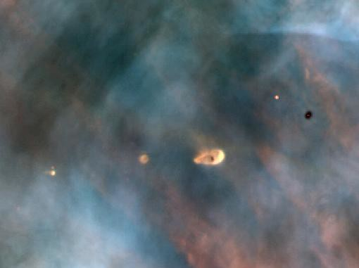 Protoplanetary disc in the Orion Nebula, similar to the nebula from which the Solar System formed