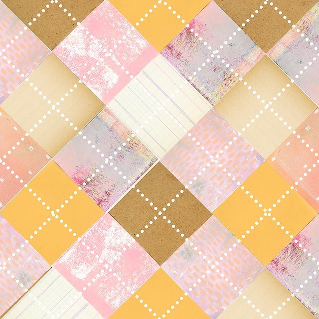#PatternJanuary #argyle - Vintage papers (Browns) and gelatin prints (pink) with digital linework (dots) - off to bed 😴💤