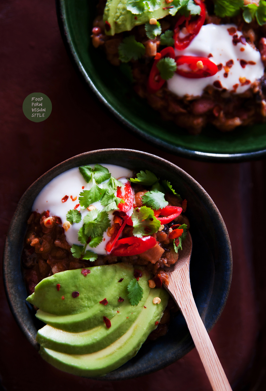 Thick and warming vegan chili with beans and lentils