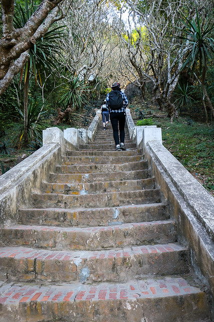 Stairs go to Mount Phu Si, Luang Prabang, Laos ルアンパバーン、プーシーの丘に登る階段