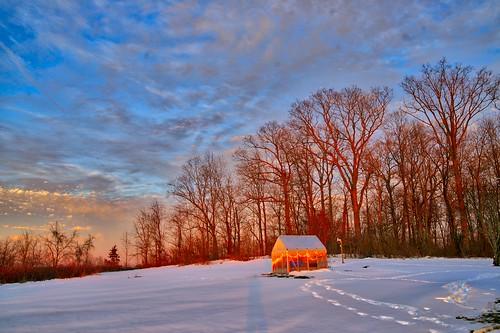 sunset ohio snow january albany 2016