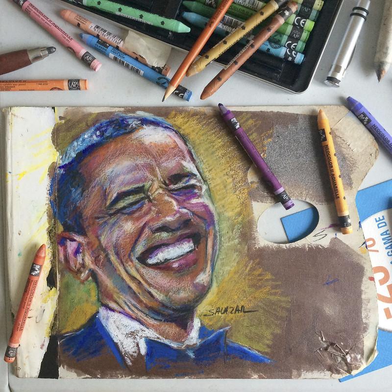 Obama pintado con ceras.