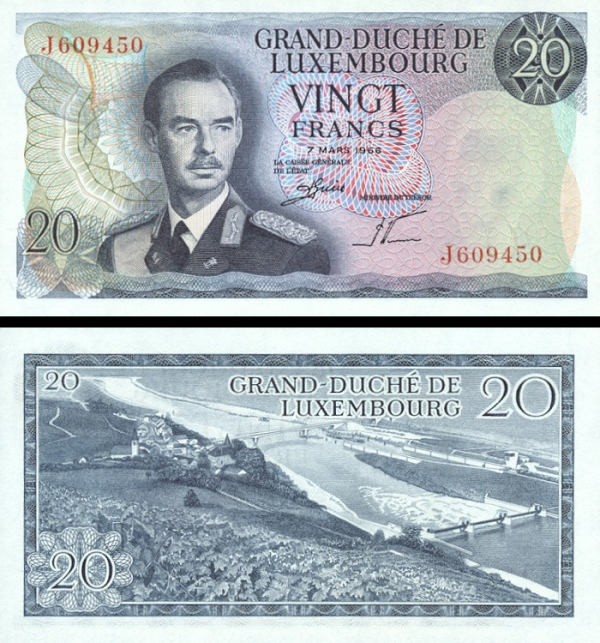 Luxembourg p54a: 20 Francs from 1966