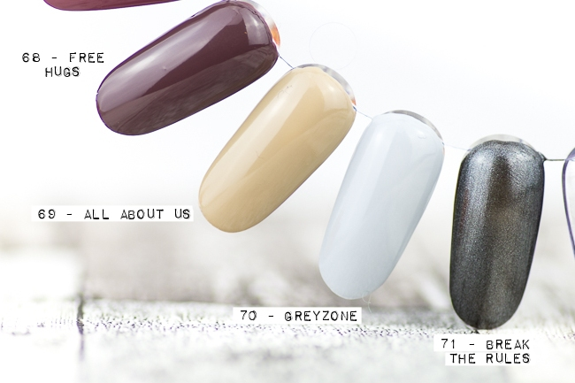 essence Bloggerevent, essence Sortimentsumstellung, essence the gel nail polish, 68 free hugs, 69 all about us, 70 greyzone, 71 break the rules
