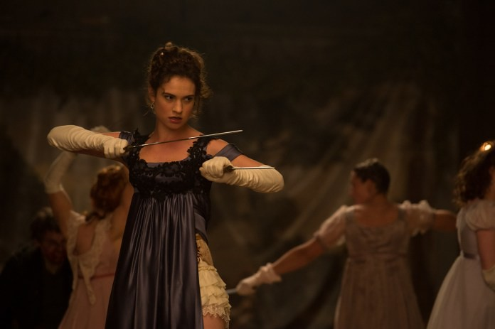Lily James is a badass Elizabeth Bennet in PRIDE AND PREJUDICE AND ZOMBIES.