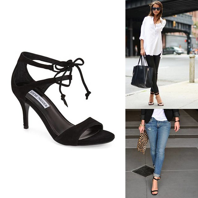 how to wear strappy black heels