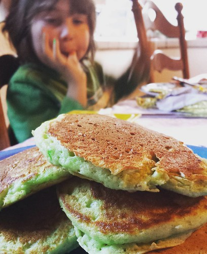 Green pancakes for St. Patrick's Day! #waldorfhome #waldorf #holiday #home #stpatricksday #family #love #mornings