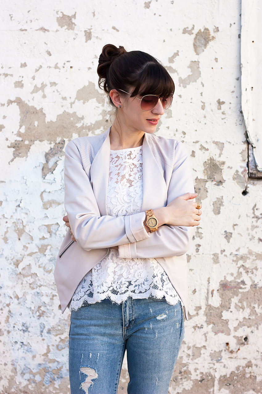 Blush Moto Jacket, Lace Tee