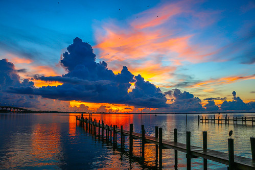blue sky orange usa sun color bird nature water weather clouds sunrise canon outside outdoors photography pier photo dock colorful florida cloudy photograph indianriver jensenbeach 70d