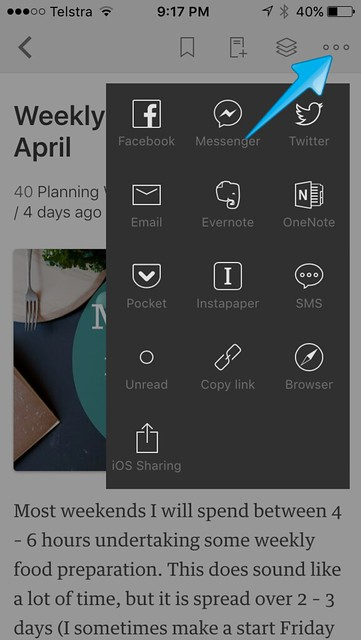 Feedly mobile post sharing