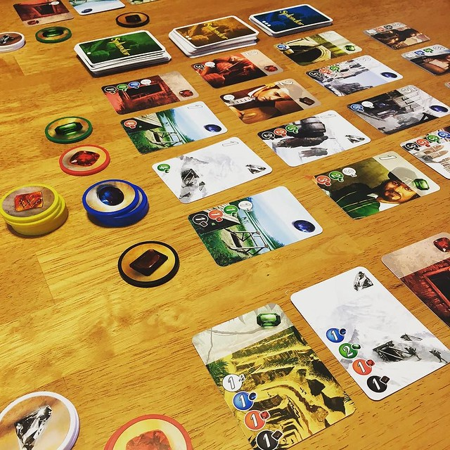 First game of #Splendor. A day late for International Table Top Day but perfect for a rainy Sunday.