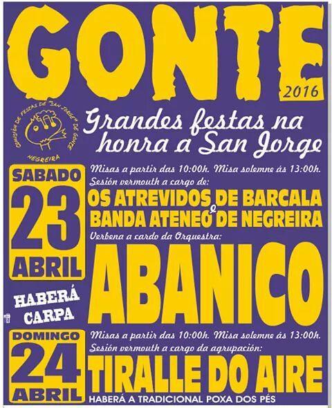Negreira 2016 - Festas de San Xurxo en Gonte - cartel