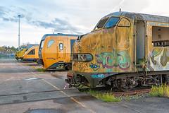 Overbodige treinen bij de Nedtrain loods in Amersfoort.